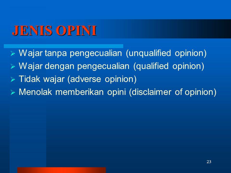 23 JENIS OPINI  Wajar tanpa pengecualian (unqualified opinion)  Wajar dengan pengecualian (qualified opinion)  Tidak wajar (adverse opinion)  Meno