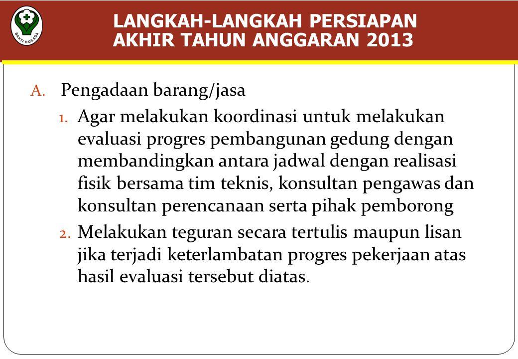 LANGKAH-LANGKAH PERSIAPAN AKHIR TAHUN ANGGARAN 2013 A.