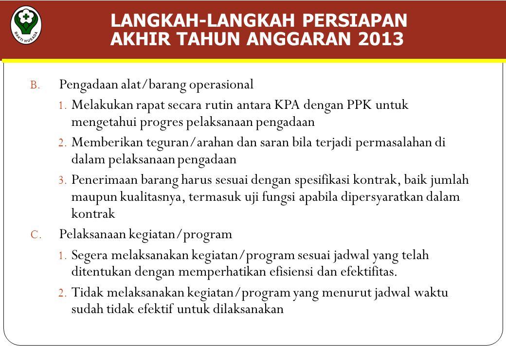 LANGKAH-LANGKAH PERSIAPAN AKHIR TAHUN ANGGARAN 2013 B.