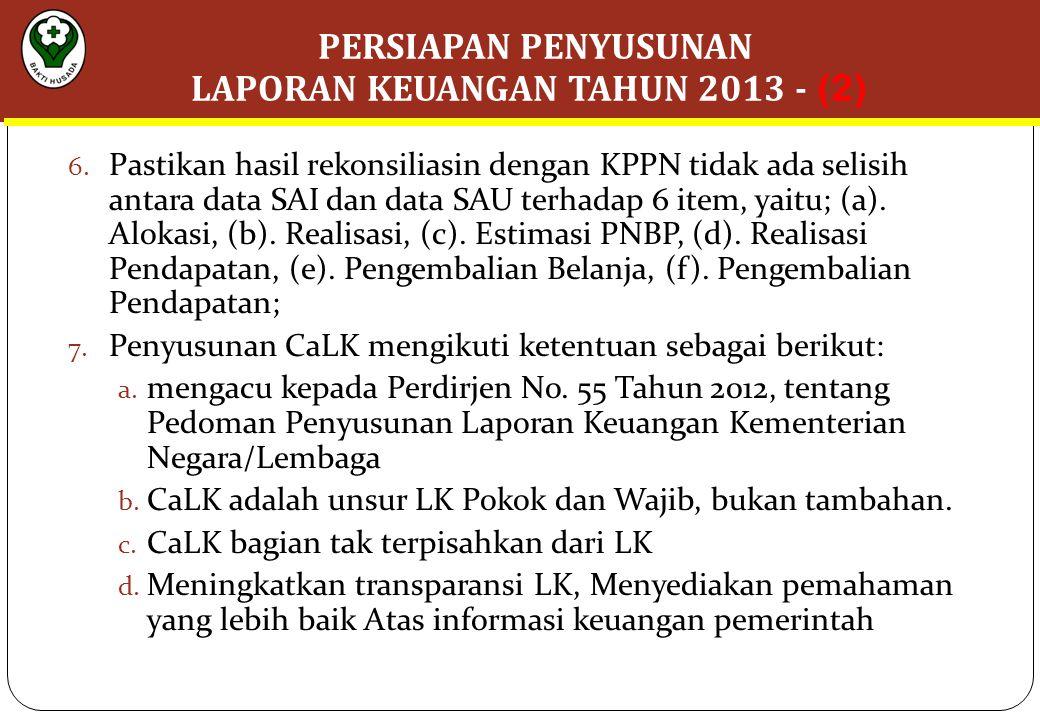 6. Pastikan hasil rekonsiliasin dengan KPPN tidak ada selisih antara data SAI dan data SAU terhadap 6 item, yaitu; (a). Alokasi, (b). Realisasi, (c).