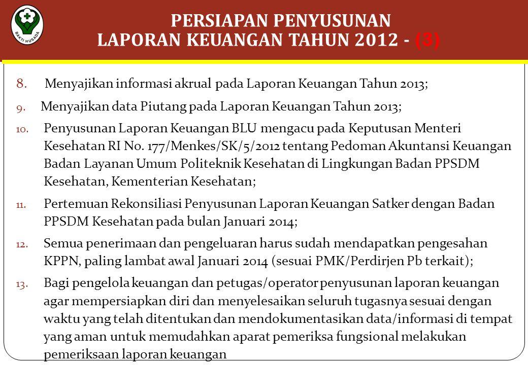 8.Menyajikan informasi akrual pada Laporan Keuangan Tahun 2013; 9.