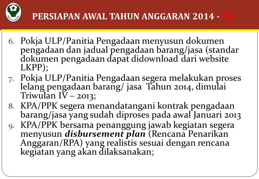 6. Pokja ULP/Panitia Pengadaan menyusun dokumen pengadaan dan jadual pengadaan barang/jasa (standar dokumen pengadaan dapat didownload dari website LK