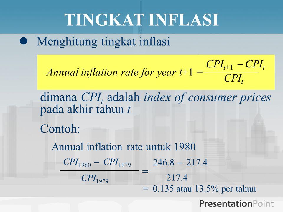  Menghitung tingkat inflasi dimana CPI t adalah index of consumer prices pada akhir tahun t Contoh: TINGKAT INFLASI Annual inflation rate for year t+1 = CPI t+1  CPI t CPI t CPI 1980  CPI 1979 CPI 1979 = 246.8  217.4 217.4 = 0.135 atau 13.5% per tahun Annual inflation rate untuk 1980