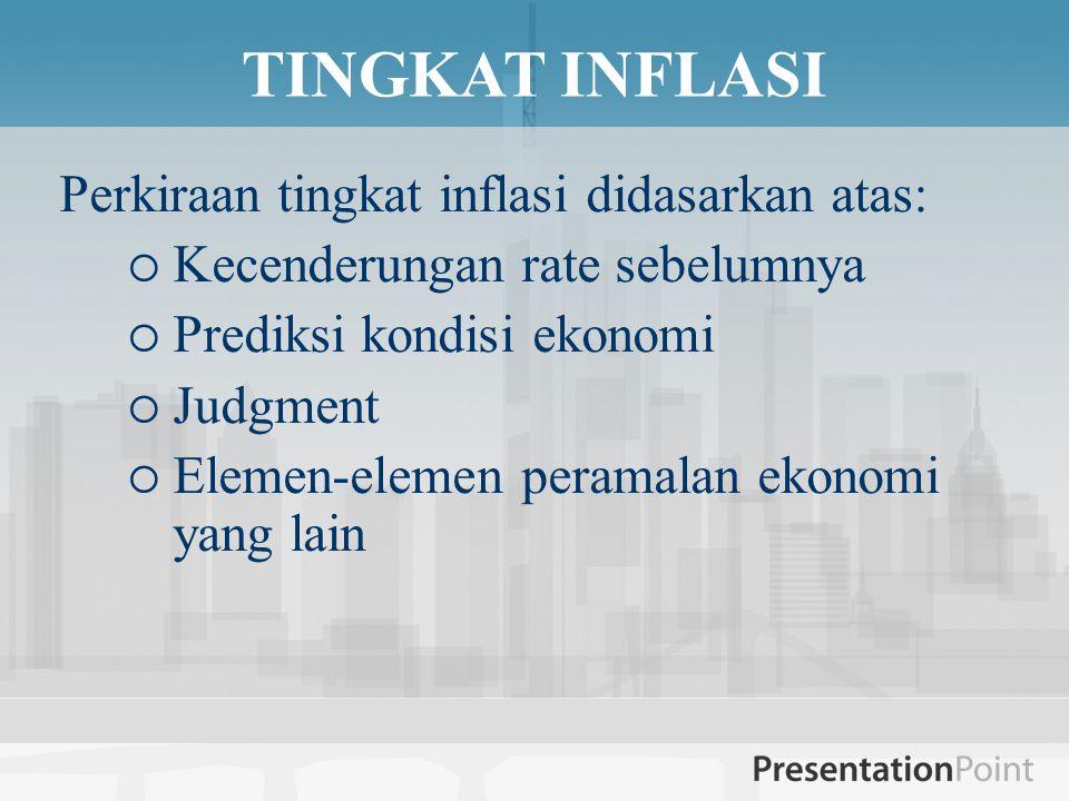 TINGKAT INFLASI Perkiraan tingkat inflasi didasarkan atas:  Kecenderungan rate sebelumnya  Prediksi kondisi ekonomi  Judgment  Elemen-elemen peramalan ekonomi yang lain