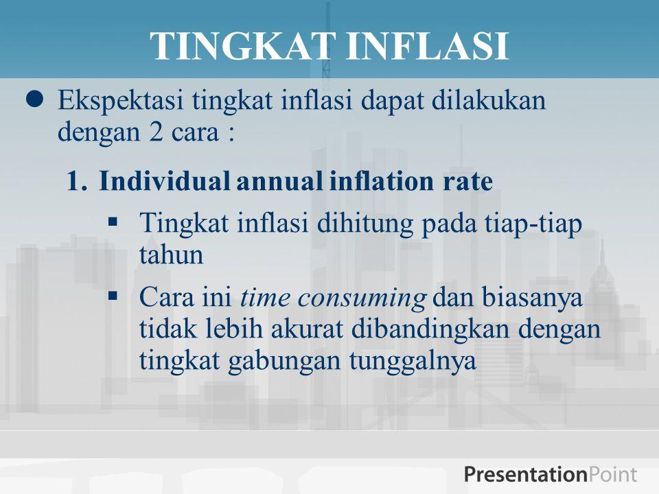 TINGKAT INFLASI  Ekspektasi tingkat inflasi dapat dilakukan dengan 2 cara : 1.Individual annual inflation rate  Tingkat inflasi dihitung pada tiap-tiap tahun  Cara ini time consuming dan biasanya tidak lebih akurat dibandingkan dengan tingkat gabungan tunggalnya