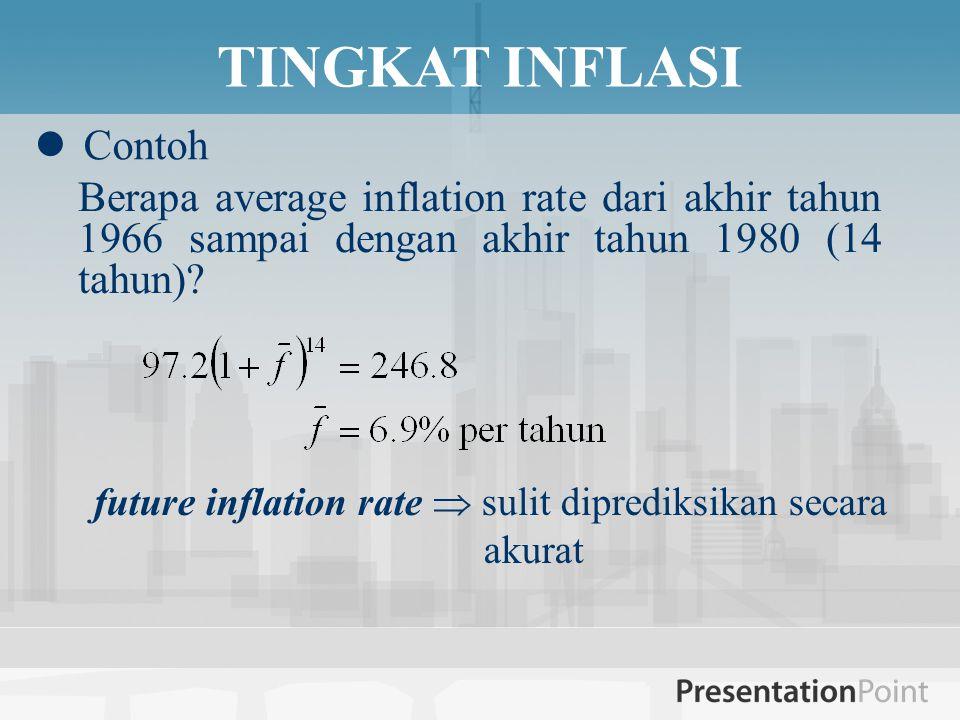 TINGKAT INFLASI  Contoh future inflation rate  sulit diprediksikan secara akurat Berapa average inflation rate dari akhir tahun 1966 sampai dengan akhir tahun 1980 (14 tahun)?