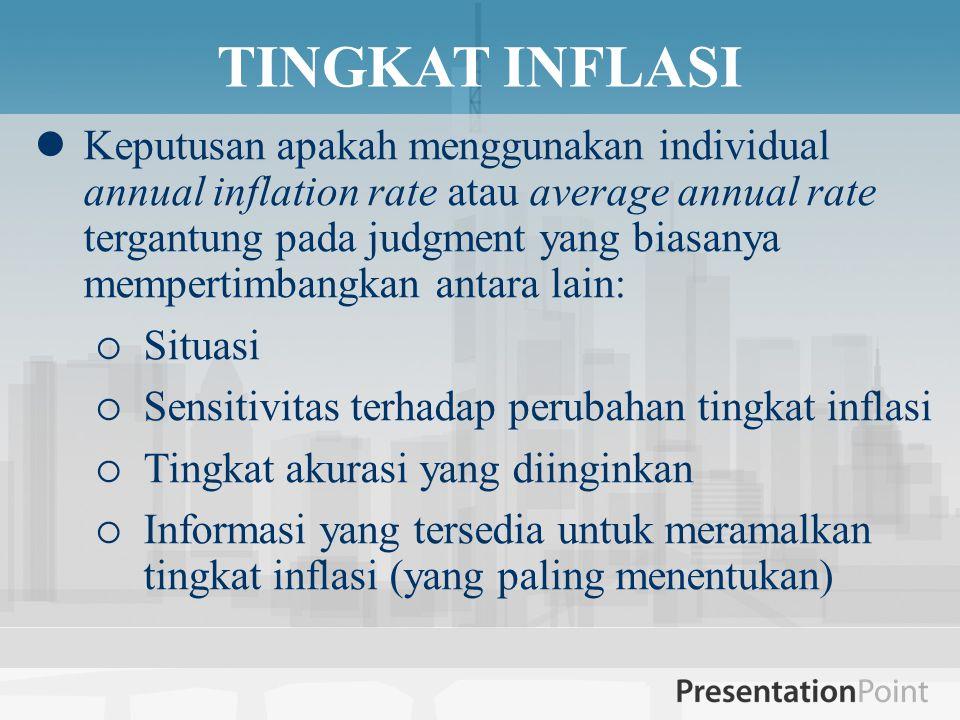 TINGKAT INFLASI  Keputusan apakah menggunakan individual annual inflation rate atau average annual rate tergantung pada judgment yang biasanya mempertimbangkan antara lain:  Situasi  Sensitivitas terhadap perubahan tingkat inflasi  Tingkat akurasi yang diinginkan  Informasi yang tersedia untuk meramalkan tingkat inflasi (yang paling menentukan)