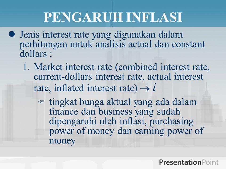 PENGARUH INFLASI  Jenis interest rate yang digunakan dalam perhitungan untuk analisis actual dan constant dollars : 1.Market interest rate (combined