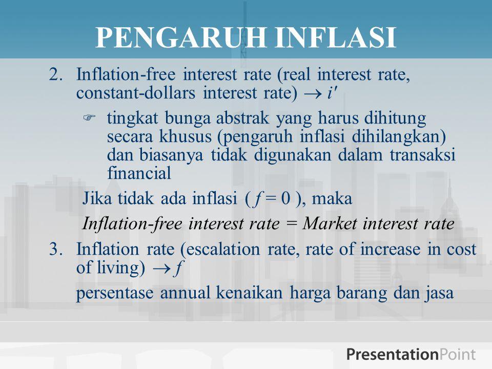 PENGARUH INFLASI 2.Inflation-free interest rate (real interest rate, constant-dollars interest rate)  i  tingkat bunga abstrak yang harus dihitung secara khusus (pengaruh inflasi dihilangkan) dan biasanya tidak digunakan dalam transaksi financial Jika tidak ada inflasi ( f = 0 ), maka Inflation-free interest rate = Market interest rate 3.Inflation rate (escalation rate, rate of increase in cost of living)  f persentase annual kenaikan harga barang dan jasa