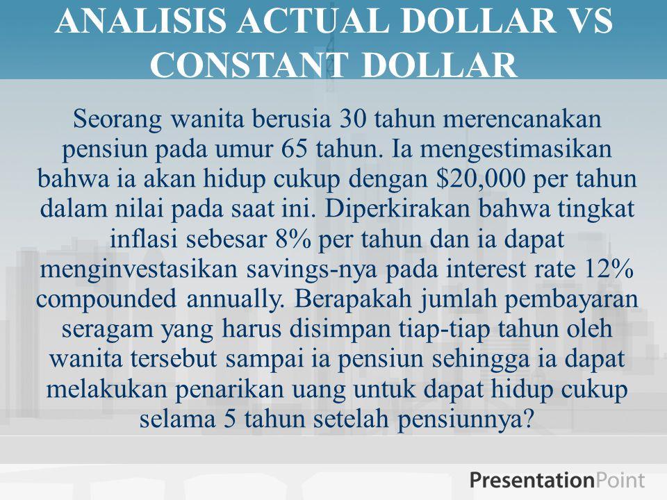 ANALISIS ACTUAL DOLLAR VS CONSTANT DOLLAR Seorang wanita berusia 30 tahun merencanakan pensiun pada umur 65 tahun. Ia mengestimasikan bahwa ia akan hi