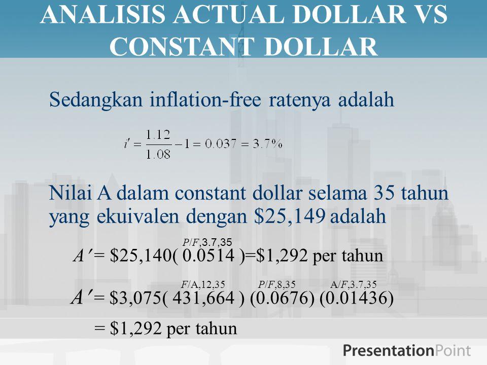 ANALISIS ACTUAL DOLLAR VS CONSTANT DOLLAR Sedangkan inflation-free ratenya adalah Nilai A dalam constant dollar selama 35 tahun yang ekuivalen dengan $25,149 adalah A = $25,140( 0.0514 )=$1,292 per tahun P/F,3.7,35 A = $3,075( 431,664 ) (0.0676) (0.01436) = $1,292 per tahun F/A,12,35 P/F,8,35 A/F,3.7,35