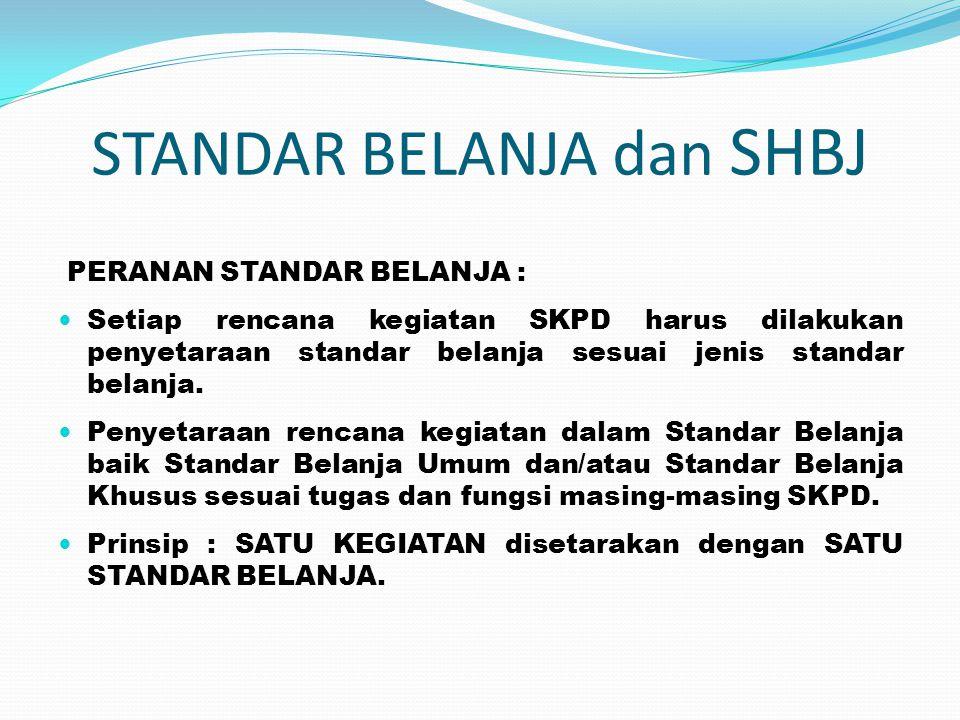 STANDAR BELANJA dan SHBJ PERANAN STANDAR BELANJA :  Setiap rencana kegiatan SKPD harus dilakukan penyetaraan standar belanja sesuai jenis standar bel