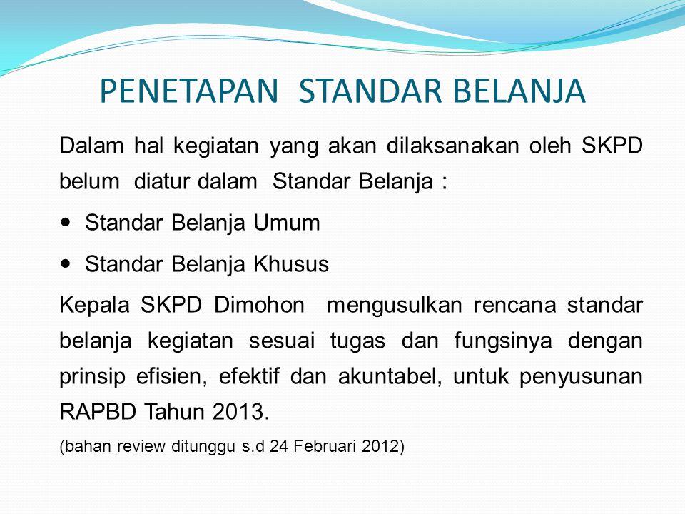 PENETAPAN STANDAR BELANJA Dalam hal kegiatan yang akan dilaksanakan oleh SKPD belum diatur dalam Standar Belanja :  Standar Belanja Umum  Standar Be