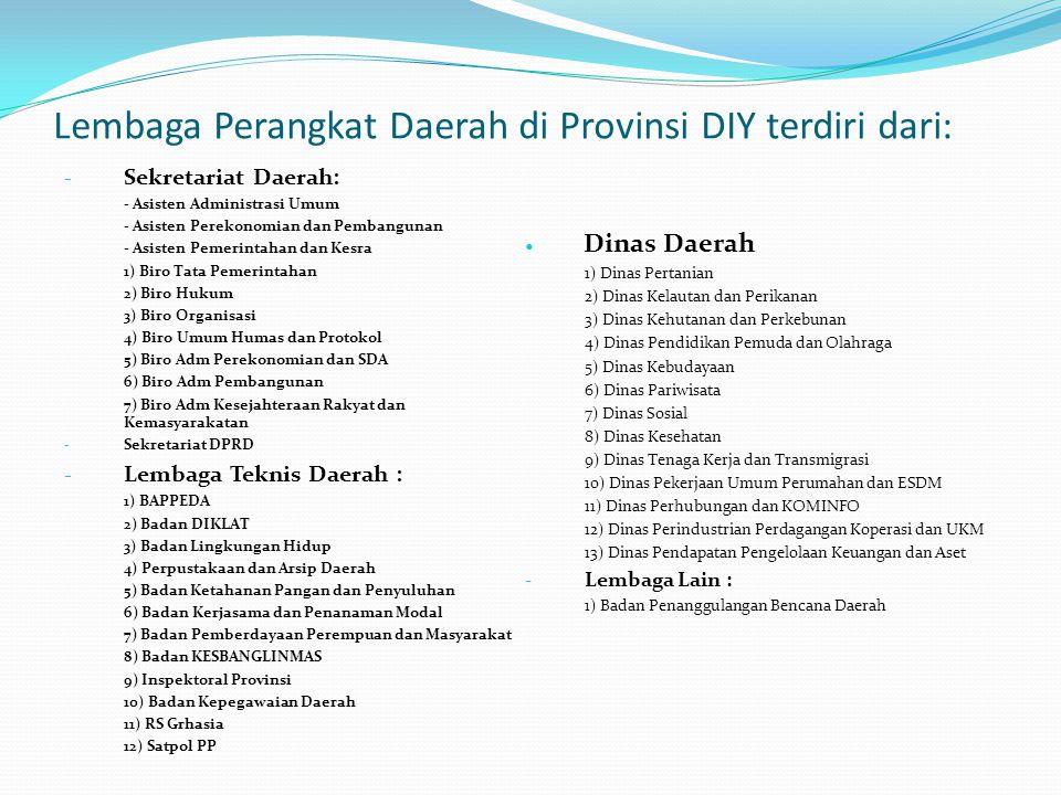 Lembaga Perangkat Daerah di Provinsi DIY terdiri dari: - Sekretariat Daerah: - Asisten Administrasi Umum - Asisten Perekonomian dan Pembangunan - Asis