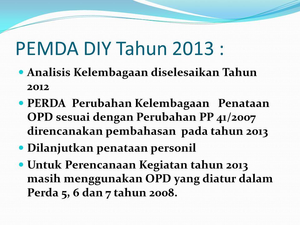 PEMDA DIY Tahun 2013 :  Analisis Kelembagaan diselesaikan Tahun 2012  PERDA Perubahan Kelembagaan Penataan OPD sesuai dengan Perubahan PP 41/2007 di