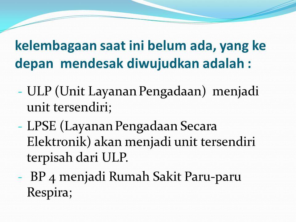 kelembagaan saat ini belum ada, yang ke depan mendesak diwujudkan adalah : - ULP (Unit Layanan Pengadaan) menjadi unit tersendiri; - LPSE (Layanan Pen