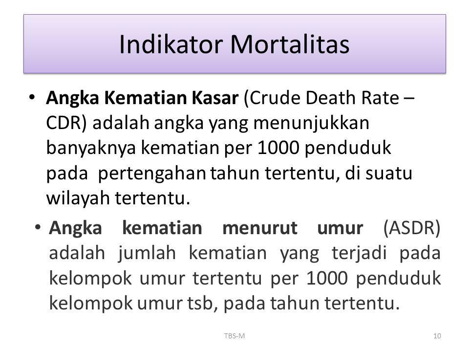 • Angka Kematian Kasar (Crude Death Rate – CDR) adalah angka yang menunjukkan banyaknya kematian per 1000 penduduk pada pertengahan tahun tertentu, di