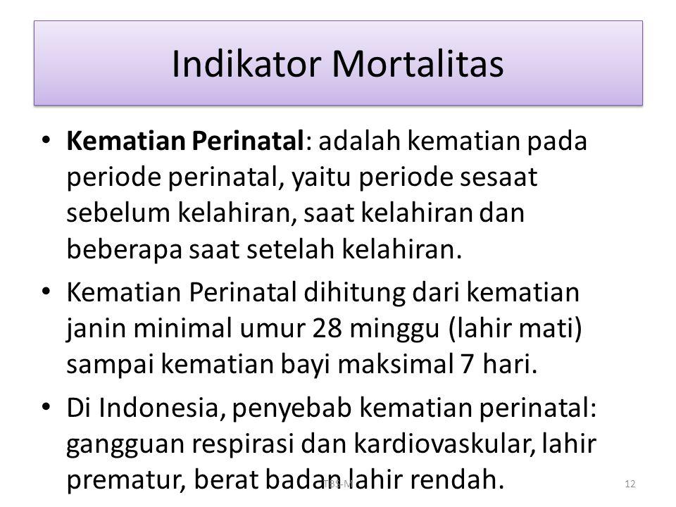 • Kematian Perinatal: adalah kematian pada periode perinatal, yaitu periode sesaat sebelum kelahiran, saat kelahiran dan beberapa saat setelah kelahir