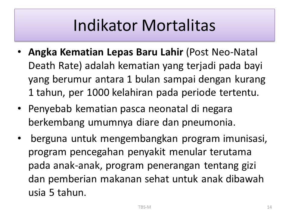 • Angka Kematian Lepas Baru Lahir (Post Neo-Natal Death Rate) adalah kematian yang terjadi pada bayi yang berumur antara 1 bulan sampai dengan kurang
