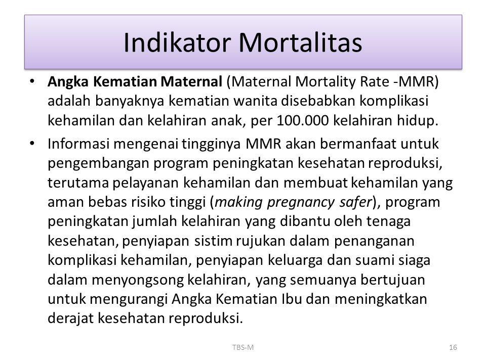 • Angka Kematian Maternal (Maternal Mortality Rate -MMR) adalah banyaknya kematian wanita disebabkan komplikasi kehamilan dan kelahiran anak, per 100.