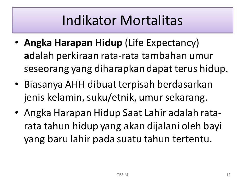 • Angka Harapan Hidup (Life Expectancy) adalah perkiraan rata-rata tambahan umur seseorang yang diharapkan dapat terus hidup. • Biasanya AHH dibuat te