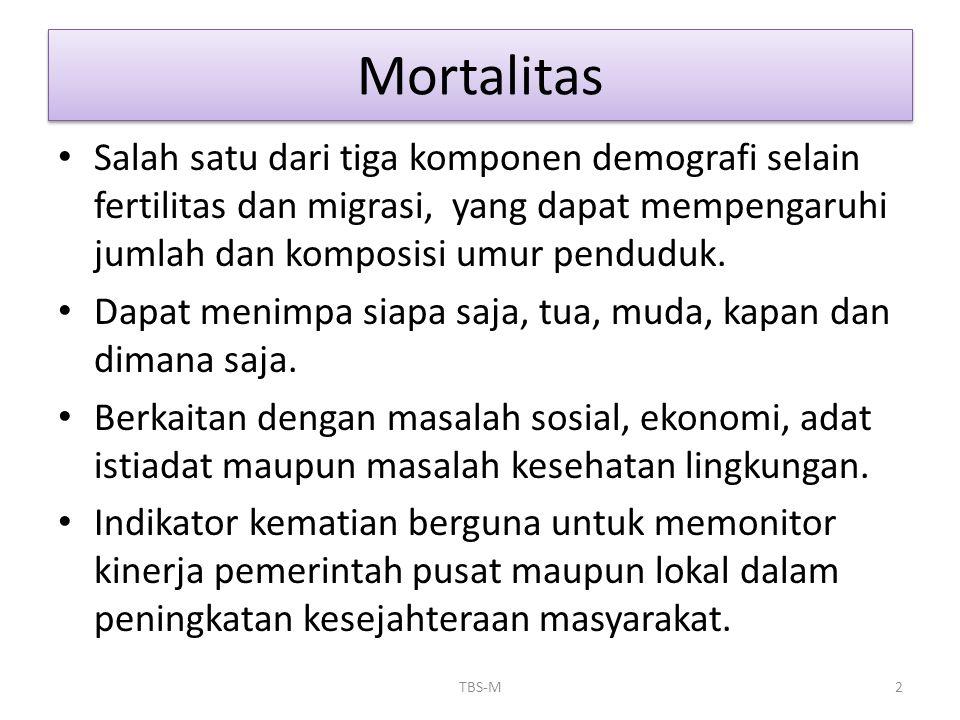 Mortalitas • Kematian dewasa: karena penyakit menular, penyakit degeneratif, kecelakaan atau gaya hidup yang beresiko terhadap kematian.