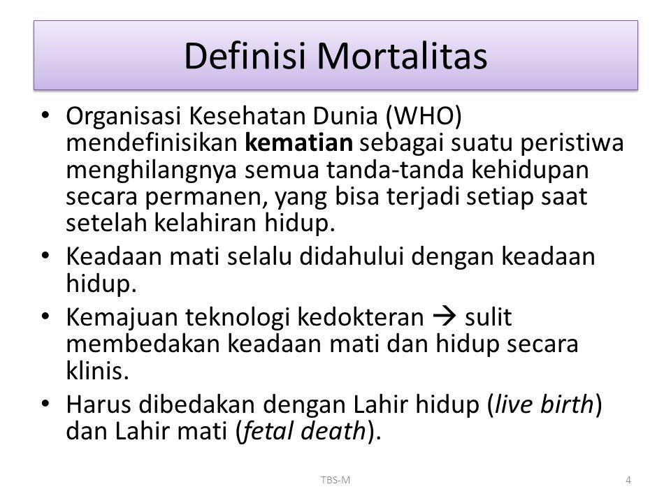 Definisi Mortalitas • Organisasi Kesehatan Dunia (WHO) mendefinisikan kematian sebagai suatu peristiwa menghilangnya semua tanda-tanda kehidupan secar