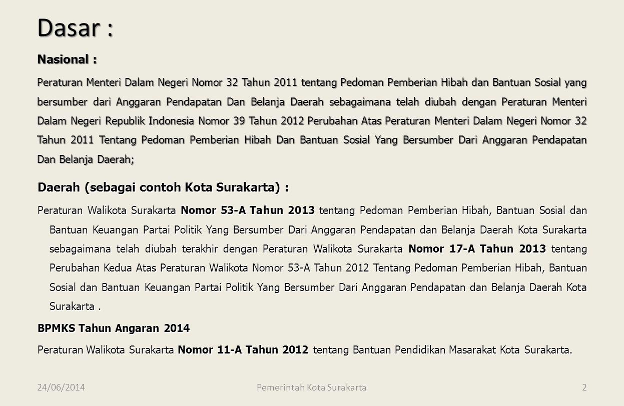 24/06/2014 Dinas Pendapatan Pengelolaan Keuangan dan Aset Kota Surakarta 1 PEMERINTAH KOTA SURAKARTA SOSIALISASI MEKANISME HIBAH DAN PERTANGGUNGJAWABA