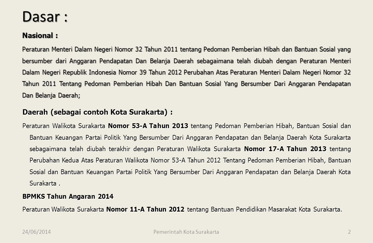 24/06/2014 Dinas Pendapatan Pengelolaan Keuangan dan Aset Kota Surakarta 12 LAPORAN REALISASI PEMBAYARAN PAJAK BELANJA BPMKS SEKOLAH ………………………….