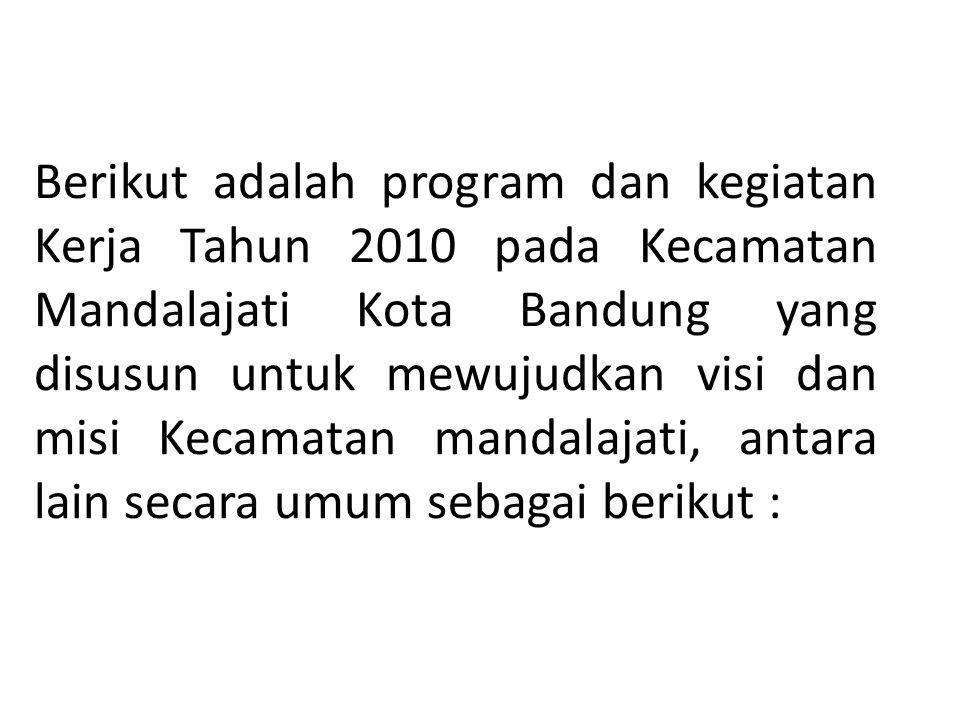 Berikut adalah program dan kegiatan Kerja Tahun 2010 pada Kecamatan Mandalajati Kota Bandung yang disusun untuk mewujudkan visi dan misi Kecamatan man