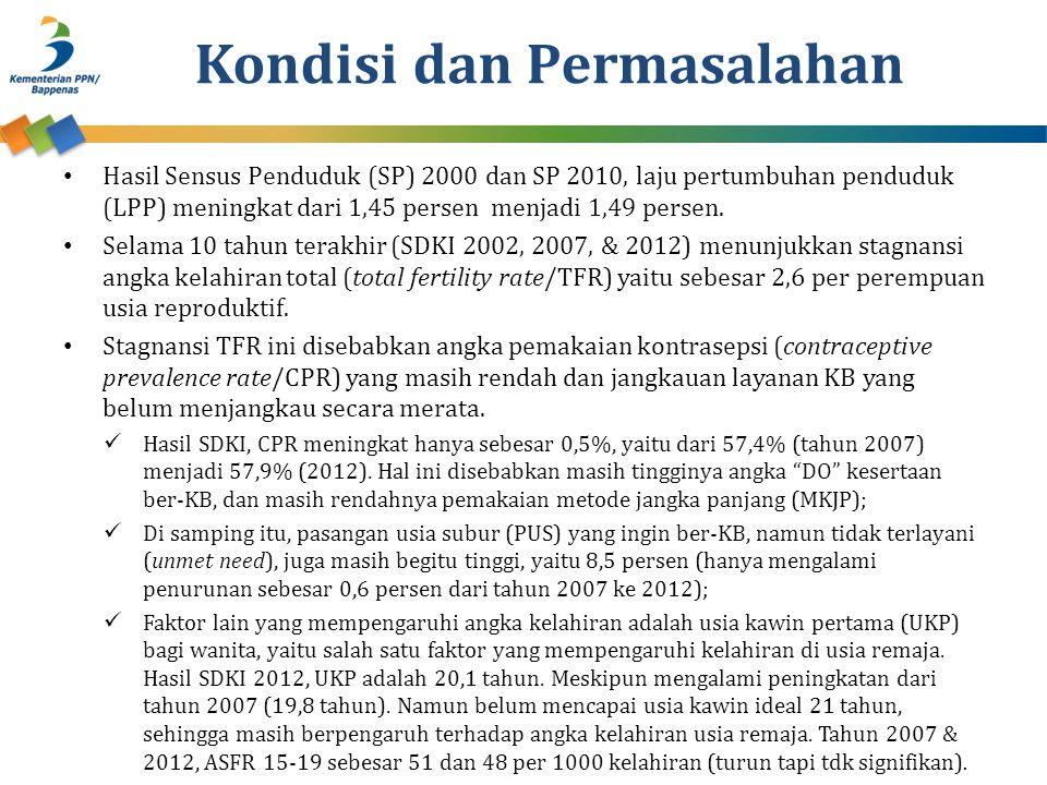 Kondisi dan Permasalahan • Hasil Sensus Penduduk (SP) 2000 dan SP 2010, laju pertumbuhan penduduk (LPP) meningkat dari 1,45 persen menjadi 1,49 persen.