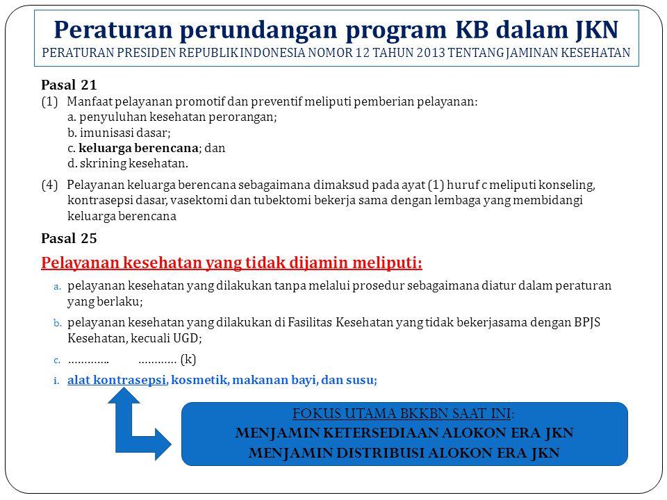 Peraturan perundangan program KB dalam JKN PERATURAN PRESIDEN REPUBLIK INDONESIA NOMOR 12 TAHUN 2013 TENTANG JAMINAN KESEHATAN Pasal 21 (1) Manfaat pelayanan promotif dan preventif meliputi pemberian pelayanan: a.