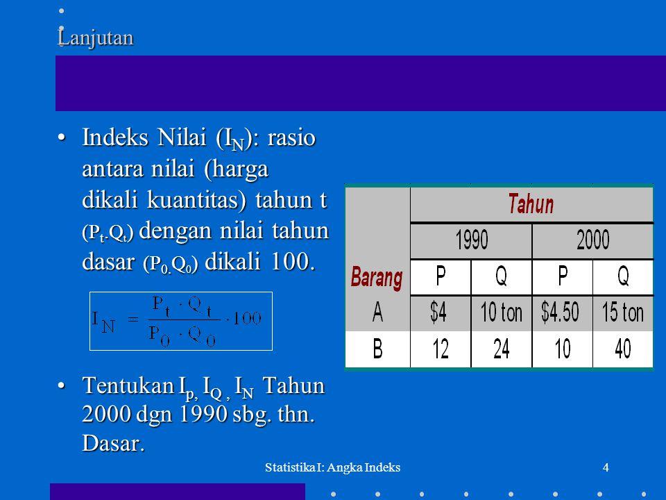 Statistika I: Angka Indeks4Lanjutan •Indeks Nilai (I N ): rasio antara nilai (harga dikali kuantitas) tahun t (P t.Q t ) dengan nilai tahun dasar (P 0