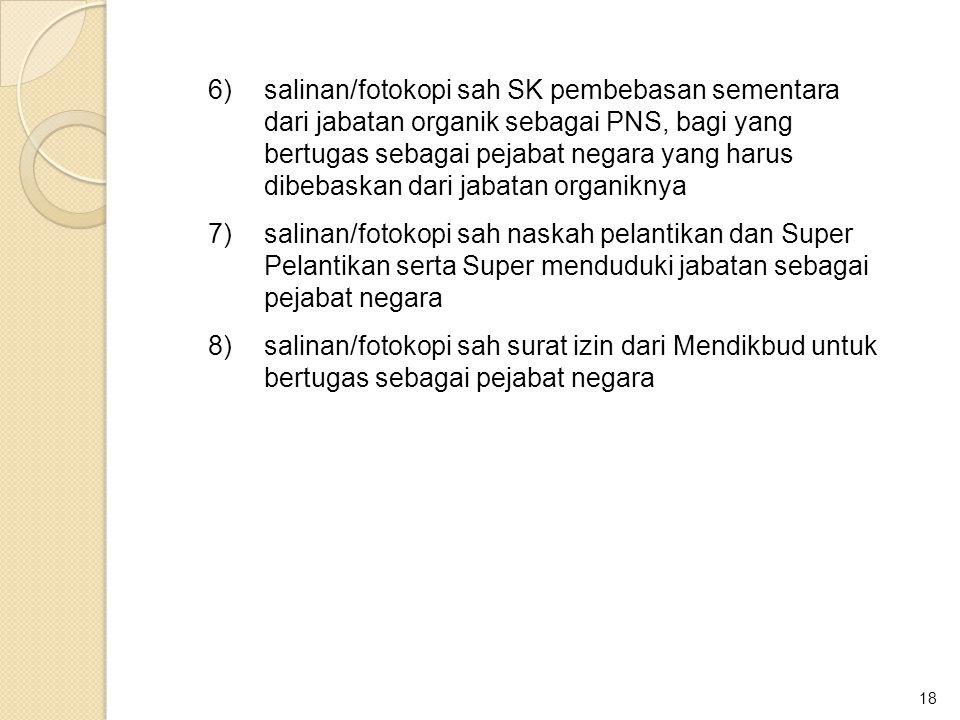 18 6)salinan/fotokopi sah SK pembebasan sementara dari jabatan organik sebagai PNS, bagi yang bertugas sebagai pejabat negara yang harus dibebaskan da