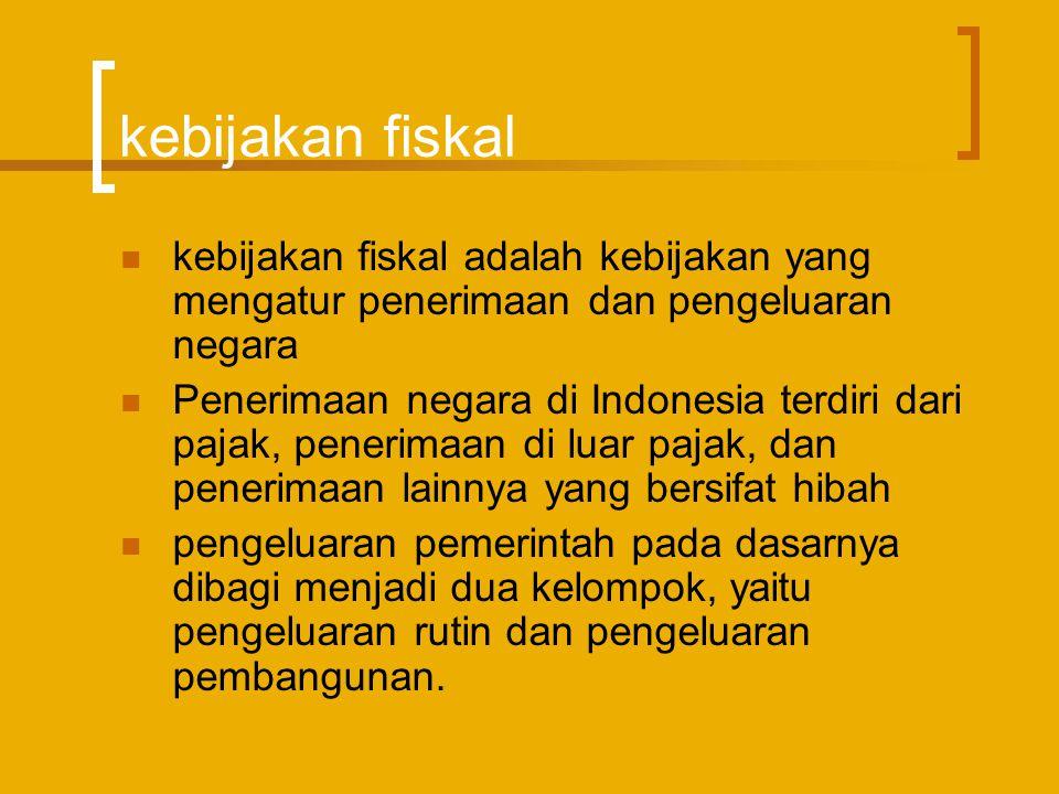 Perkembangan kebijakan fiskal  Perkembangan kebijakan fiskal Indonesia telah mengalami beberapa dinamika  Kebijakan fiskal merupakan salah satu instrumen pemerintah untuk melaksanakan fungsi alokasi, distribusi, dan stabilisasi ekonomi  Pada masa krisis peran pemerintah dapat dikatakan sebagai motor penggerak perekonomian, mengingat sektor swasta belum dapat diandalkan untuk menggerakkan perekonomian secara optimal