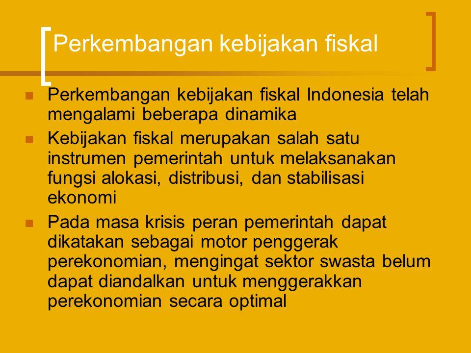 Perkembangan kebijakan fiskal  Sejak Repelita I hingga Repelita IV, APBN Indonesia selalu didasarkan pada prinsip anggaran berimbang dinamis  Anggaran berimbang dimaksudkan untuk untuk menyesuaikan besarnya anggaran pada tahun tertentu harus disesuaikan dengan pendapatan pada tahun tersebut.