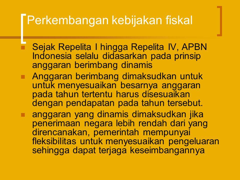 Perkembangan kebijakan fiskal  Sejak Repelita I hingga Repelita IV, APBN Indonesia selalu didasarkan pada prinsip anggaran berimbang dinamis  Anggar