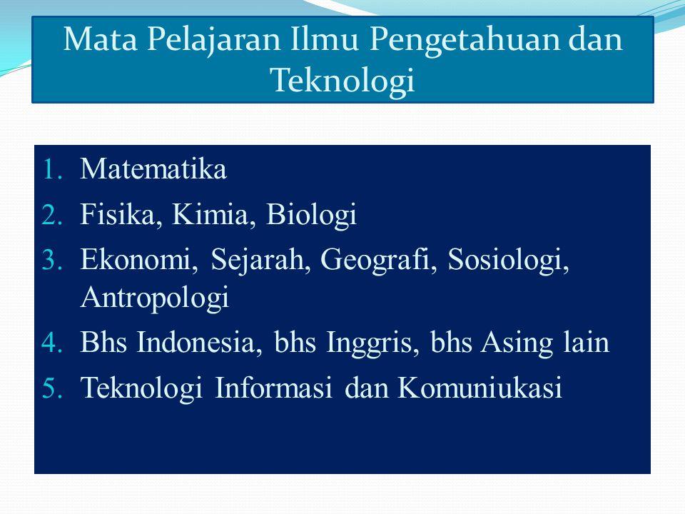 1.Matematika 2. Fisika, Kimia, Biologi 3. Ekonomi, Sejarah, Geografi, Sosiologi, Antropologi 4.