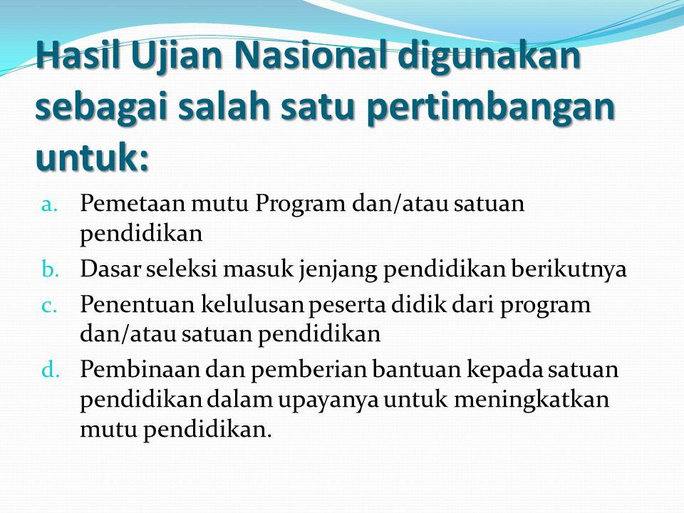 Kelulusan Ujian Nasional 1.Peserta didik dinyatakan lulus US 2.