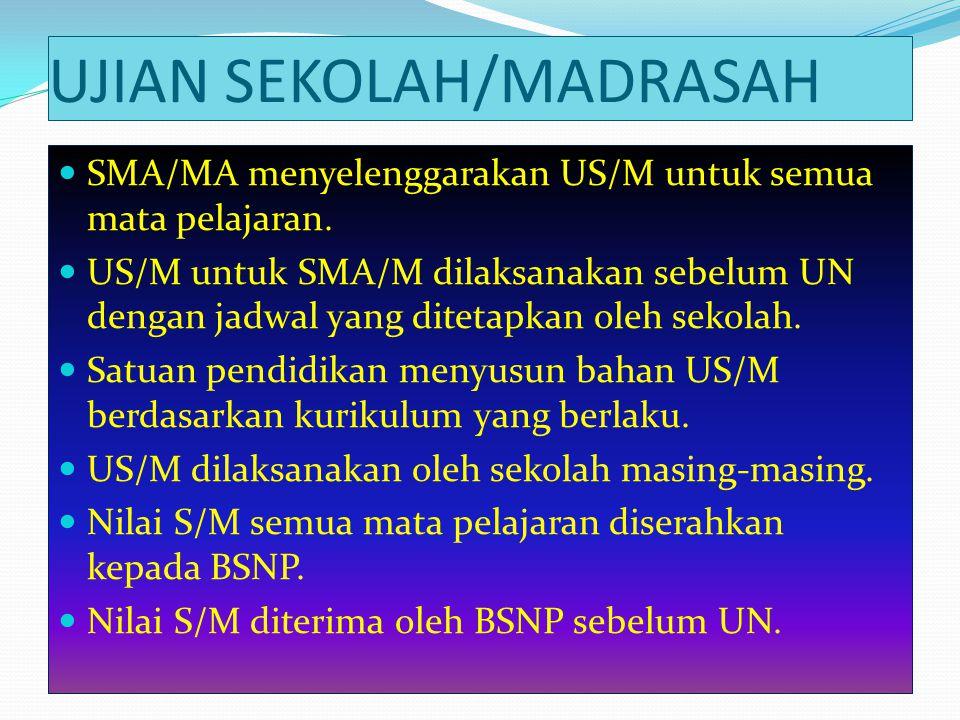 UJIAN SEKOLAH/MADRASAH  SMA/MA menyelenggarakan US/M untuk semua mata pelajaran.