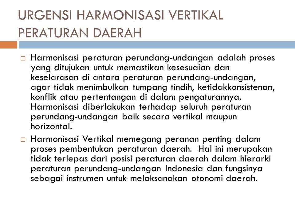 URGENSI HARMONISASI VERTIKAL PERATURAN DAERAH  Harmonisasi peraturan perundang-undangan adalah proses yang ditujukan untuk memastikan kesesuaian dan
