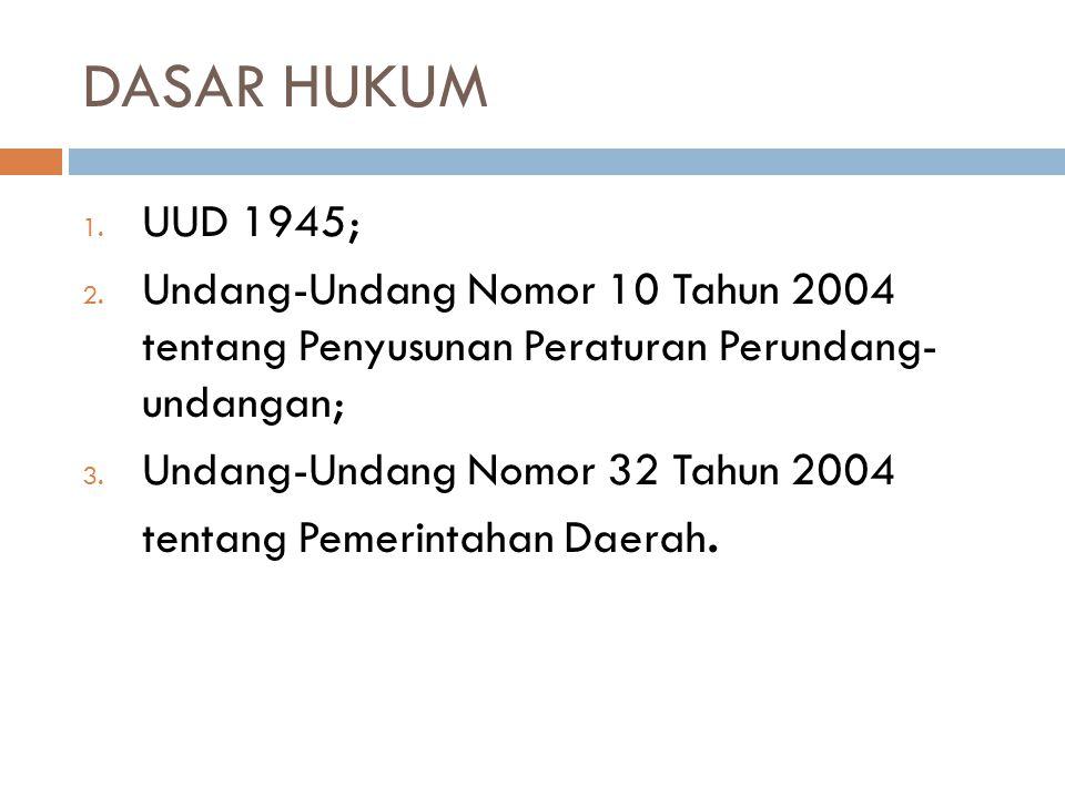DASAR HUKUM 1. UUD 1945; 2. Undang-Undang Nomor 10 Tahun 2004 tentang Penyusunan Peraturan Perundang- undangan; 3. Undang-Undang Nomor 32 Tahun 2004 t
