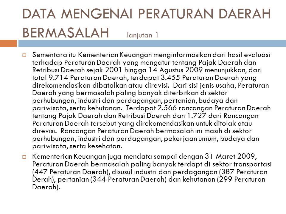 DATA MENGENAI PERATURAN DAERAH BERMASALAH lanjutan-1  Sementara itu Kementerian Keuangan menginformasikan dari hasil evaluasi terhadap Peraturan Daer