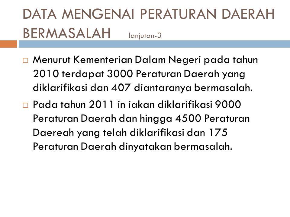 DATA MENGENAI PERATURAN DAERAH BERMASALAH lanjutan-3  Menurut Kementerian Dalam Negeri pada tahun 2010 terdapat 3000 Peraturan Daerah yang diklarifik