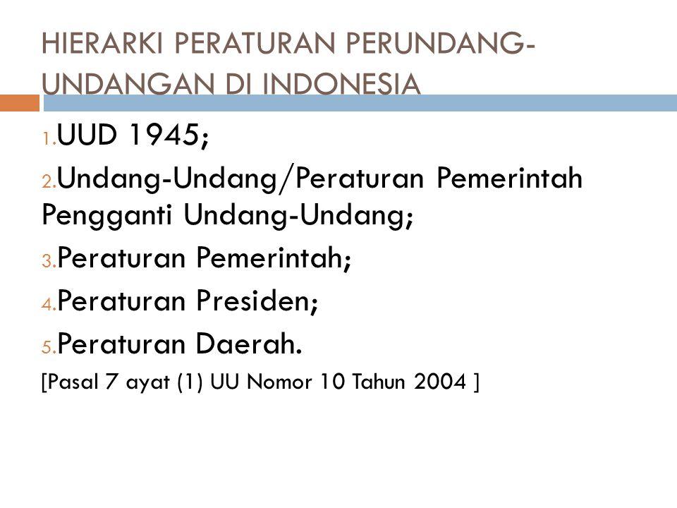 HIERARKI PERATURAN PERUNDANG- UNDANGAN DI INDONESIA 1. UUD 1945; 2. Undang-Undang/Peraturan Pemerintah Pengganti Undang-Undang; 3. Peraturan Pemerinta