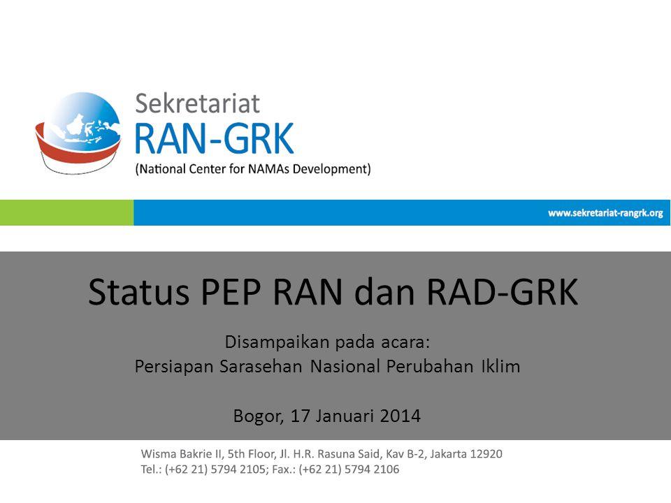 Status PEP RAN dan RAD-GRK Disampaikan pada acara: Persiapan Sarasehan Nasional Perubahan Iklim Bogor, 17 Januari 2014