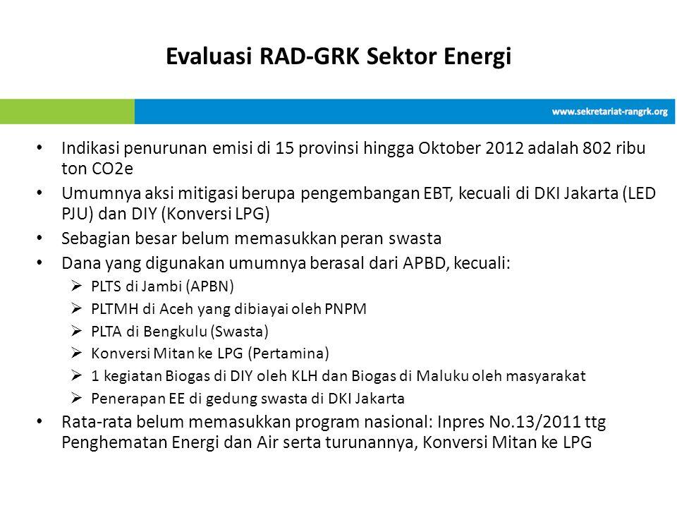 • Indikasi penurunan emisi di 15 provinsi hingga Oktober 2012 adalah 802 ribu ton CO2e • Umumnya aksi mitigasi berupa pengembangan EBT, kecuali di DKI Jakarta (LED PJU) dan DIY (Konversi LPG) • Sebagian besar belum memasukkan peran swasta • Dana yang digunakan umumnya berasal dari APBD, kecuali:  PLTS di Jambi (APBN)  PLTMH di Aceh yang dibiayai oleh PNPM  PLTA di Bengkulu (Swasta)  Konversi Mitan ke LPG (Pertamina)  1 kegiatan Biogas di DIY oleh KLH dan Biogas di Maluku oleh masyarakat  Penerapan EE di gedung swasta di DKI Jakarta • Rata-rata belum memasukkan program nasional: Inpres No.13/2011 ttg Penghematan Energi dan Air serta turunannya, Konversi Mitan ke LPG Evaluasi RAD-GRK Sektor Energi