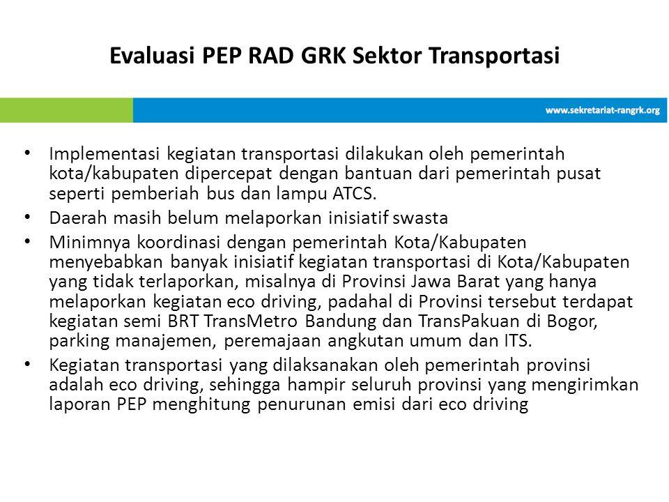 Evaluasi PEP RAD GRK Sektor Transportasi • Implementasi kegiatan transportasi dilakukan oleh pemerintah kota/kabupaten dipercepat dengan bantuan dari pemerintah pusat seperti pemberiah bus dan lampu ATCS.