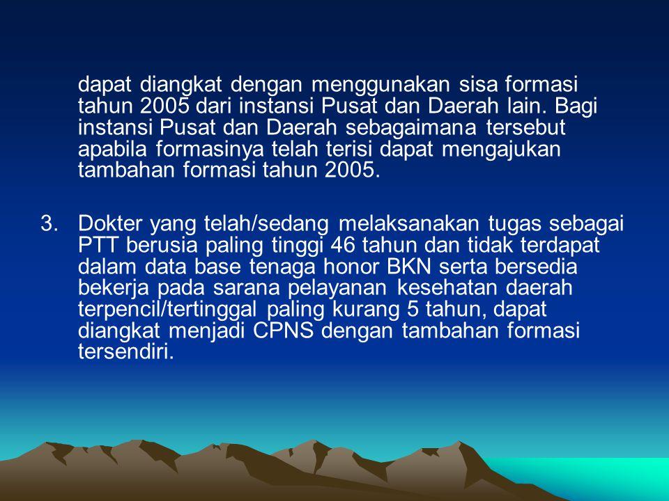 1.Tenaga honor yang formasi tahun anggaran 2005 telah diumumkan dan diusulkan untuk diangkat sebagai CPNS tetapi formasinya dipergunakan untuk mengako