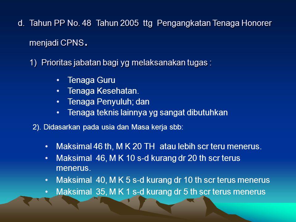 d.Tahun PP No. 48 Tahun 2005 ttg Pengangkatan Tenaga Honorer menjadi CPNS.